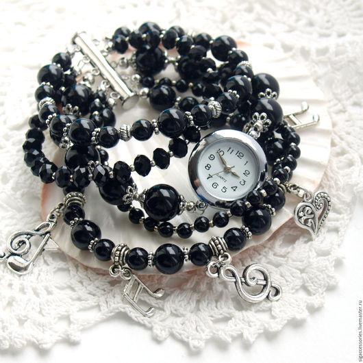 """Часы ручной работы. Ярмарка Мастеров - ручная работа. Купить """"Я музыкант"""" - часы-браслет. Handmade. Черный, часы в подарок"""