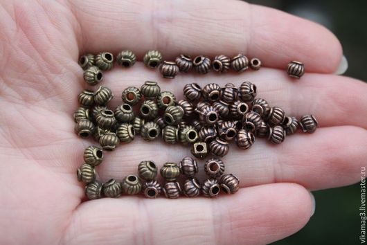 Для украшений ручной работы. Ярмарка Мастеров - ручная работа. Купить Бусины Фонарики металлические, бронза и  медь, 5 мм. Handmade.