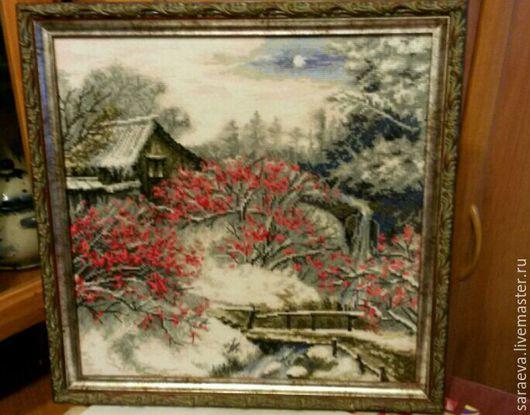 Пейзаж ручной работы. Ярмарка Мастеров - ручная работа. Купить Красная рябина. Handmade. Ярко-красный, заброшенный дом, Снег