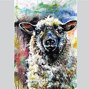handmade. Livemaster - original item Painting Watercolor Sheep Stylish beautiful painting in the interior. Handmade.