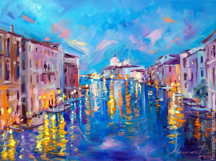 Oil painting on canvas. Lights Of Venice. Venice. Italy, Pictures, Moscow,  Фото №1