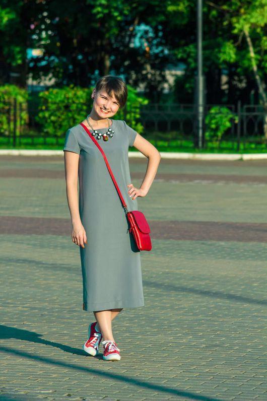 Платья ручной работы. Ярмарка Мастеров - ручная работа. Купить Платье трикотажное миди СЕРЫЙ. Handmade. Платье, платье для беременных