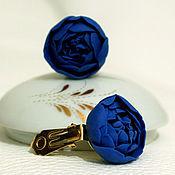 Украшения handmade. Livemaster - original item Clip.Earrings for your ears made of polymer clay with blue flowers peonies.. Handmade.