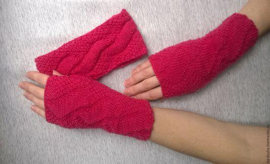 митенки, вязаные митенки, вязанные митенки, перчатки без пальцев, варежки без пальцев, митенки вязаные, женские митенки, митенки женские, розовый комплект, рукава, комплект на весну, Челябинск