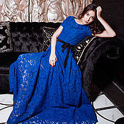 """Одежда ручной работы. Ярмарка Мастеров - ручная работа Платье """"Кружево"""" (королевский синий). Handmade."""