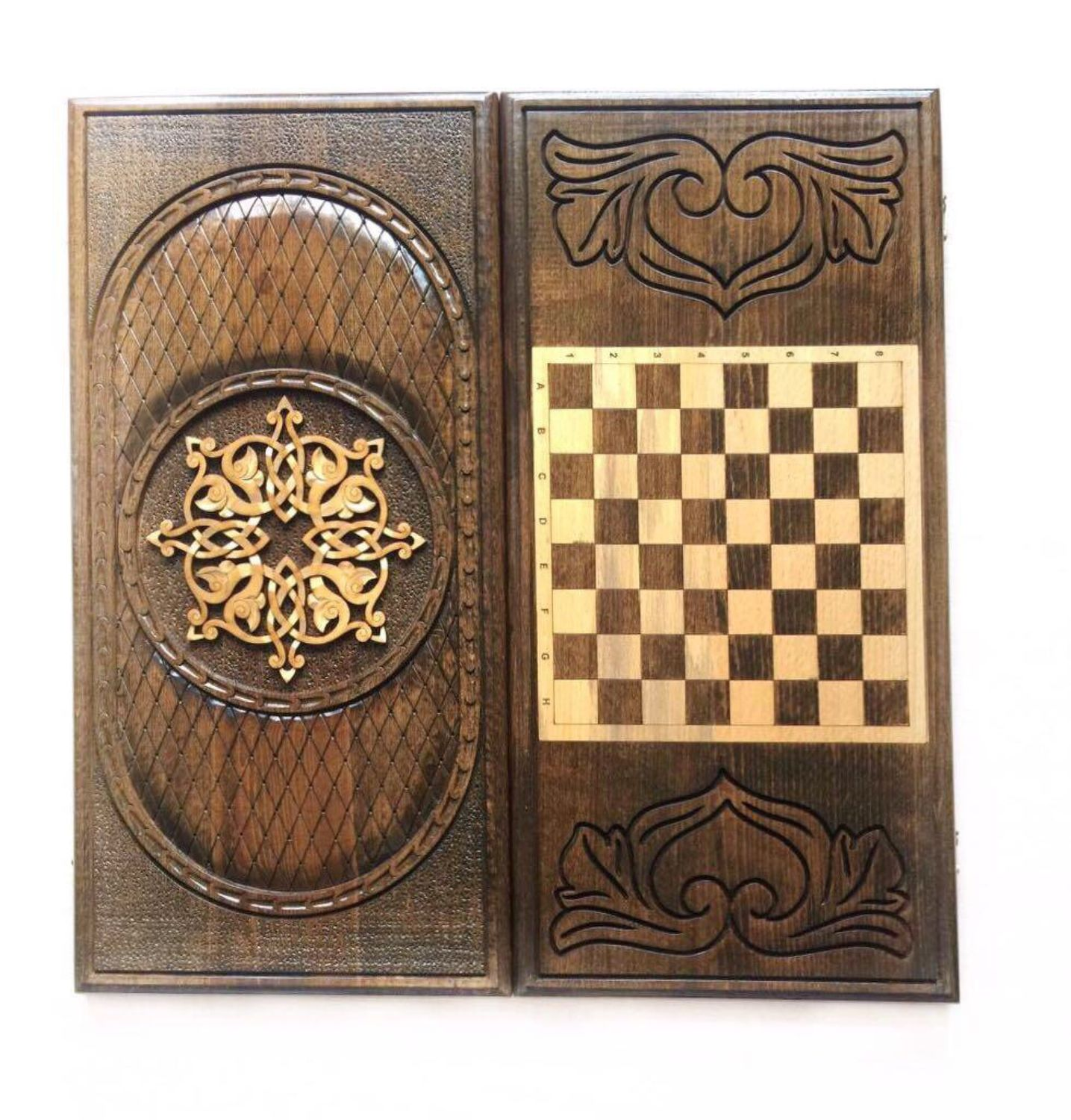 Backgammon carved handmade 'Pattern 2' Art. .007, Backgammon and checkers, Moscow,  Фото №1