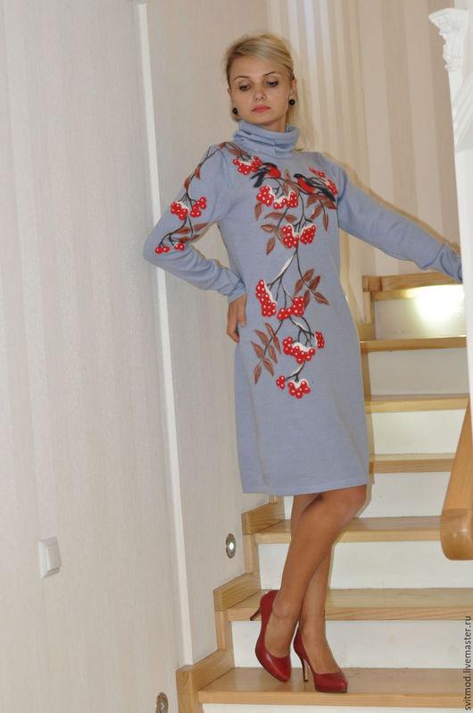 """Платья ручной работы. Ярмарка Мастеров - ручная работа. Купить Платье""""Первый снег """". Handmade. Платье, голубой"""