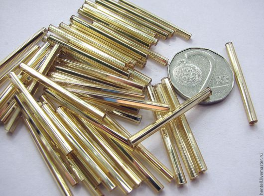 Стеклярус длинный круглый 30 мм, топаз белое золото