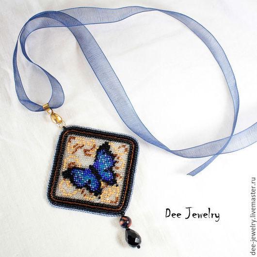 Кулоны, подвески ручной работы. Ярмарка Мастеров - ручная работа. Купить кулон Синяя бабочка. Handmade. Тёмно-синий, подарок