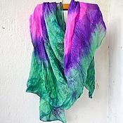 Аксессуары ручной работы. Ярмарка Мастеров - ручная работа шарф шёлковый изумрудно фиолетовый фуксия, женский шёлковый шарф. Handmade.