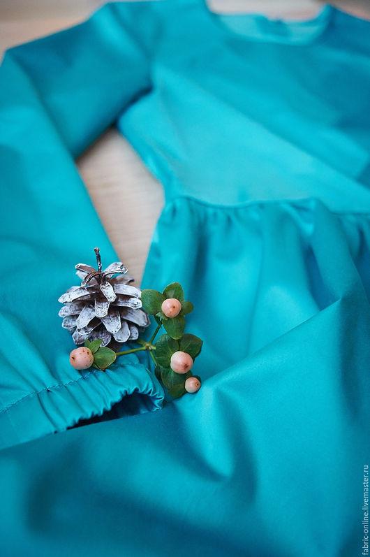 Платья ручной работы. Ярмарка Мастеров - ручная работа. Купить Платье бирюзовое со строчками впереди на осень. Handmade. Бирюзовый