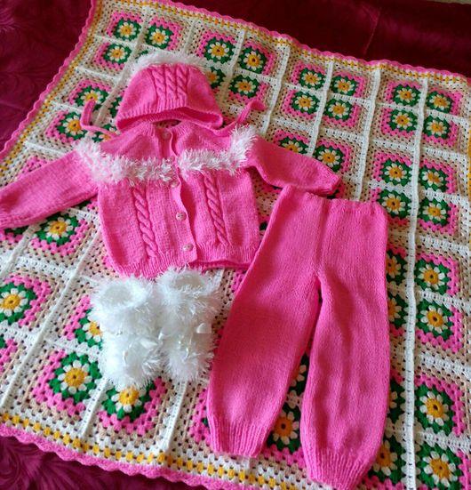 Для новорожденных, ручной работы. Ярмарка Мастеров - ручная работа. Купить Плед и костюмчик для новорожденной девочки.. Handmade. Детский плед