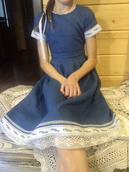 """Одежда для девочек, ручной работы. Ярмарка Мастеров - ручная работа. Купить Детское платье """" Синее небо""""( скидка20%). Handmade."""