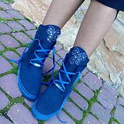 Обувь ручной работы. Ярмарка Мастеров - ручная работа Полусапожки шерстяные синие Бантики. Handmade.