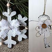 Decoration handmade. Livemaster - original item Shabby- suspensions, key and snowflake.Christmas decor. Handmade.