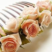 Свадебный салон ручной работы. Ярмарка Мастеров - ручная работа Гребень с розами. Handmade.