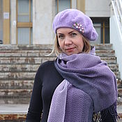 handmade. Livemaster - original item Set of beret with embroidery and scarf