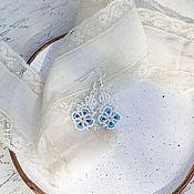 Свадебный салон ручной работы. Ярмарка Мастеров - ручная работа Маленькие кружевные серьги, фриволите. Handmade.