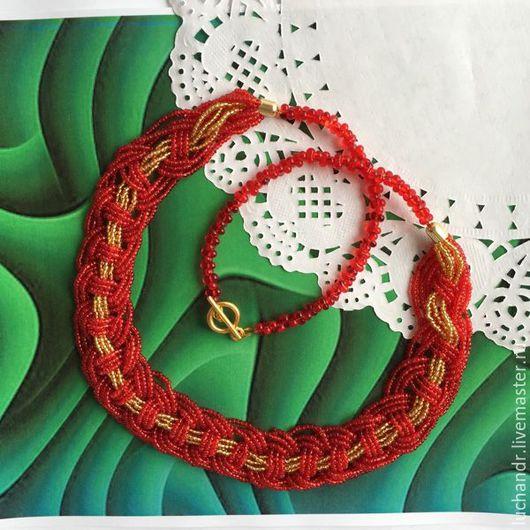 Красное колье коса. колье средней длины, алое колье. красные бусы. красное ожерелье, красное с золотом, яркое украшение. Магазин Украшений Лозбенева Юлия