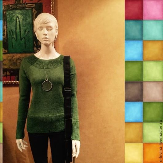 """Кофты и свитера ручной работы. Ярмарка Мастеров - ручная работа. Купить Свитер """"Любимый зеленый"""". Handmade. Зеленый, свитер вязаный"""