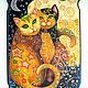 """Животные ручной работы. Ярмарка Мастеров - ручная работа. Купить панно """"Лунные коты"""". Handmade. Комбинированный, панно, Роспись по дереву"""