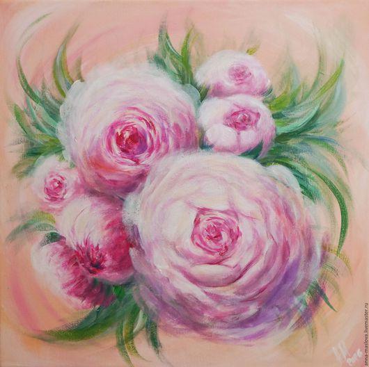 """Картины цветов ручной работы. Ярмарка Мастеров - ручная работа. Купить """"Розовые пионы"""" интерьерная картина. Handmade. Картина с цветами"""