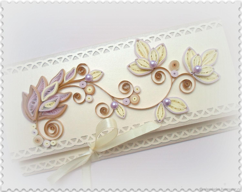 Свадебный конверт. Конверт для денег. Кремово-лиловые цветы, Открытки, Видзы, Фото №1