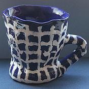 Посуда ручной работы. Ярмарка Мастеров - ручная работа Кружка Синяя Ткань в Клетку. Handmade.