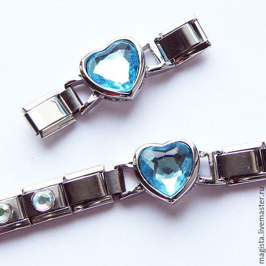 Коннектор для украшений с голубым стеклянным средечком. Пример использования