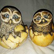 Для дома и интерьера handmade. Livemaster - original item Figure owl in egg made of natural Ural stone Anhydrite. Handmade.