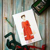 Картины и панно ручной работы. Ярмарка Мастеров - ручная работа Иллюстрация акварель Красное платье на удачу. Handmade.