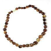 Работы для детей, handmade. Livemaster - original item Long beads amber green