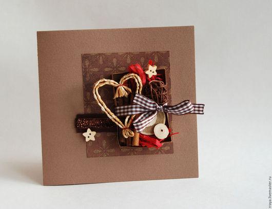"""Открытки к Новому году ручной работы. Ярмарка Мастеров - ручная работа. Купить Открытка новогодняя  в коричневых тонах """"Сердце"""". Handmade."""