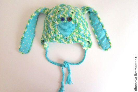 """Шапки и шарфы ручной работы. Ярмарка Мастеров - ручная работа. Купить Шапка """"Смешной зайка"""". Handmade. Комбинированный, шапка для девочки"""