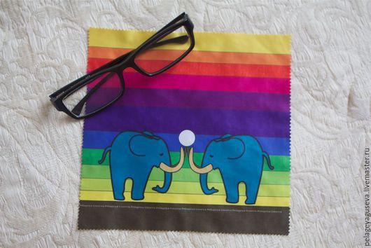 """Очки ручной работы. Ярмарка Мастеров - ручная работа. Купить Протирка для очков и техники """"Слоны на радуге"""". Handmade. Разноцветный, протирка"""
