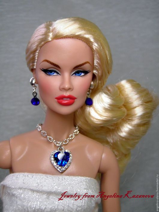 Комплект украшений `Heart of the Ocean` Автор Ангелина КАЗАНОВА На фото кукла Fashion Royalty ростом 12`