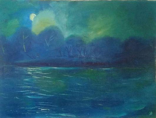 """Пейзаж ручной работы. Ярмарка Мастеров - ручная работа. Купить """"Лунный берег"""" х/м.. Handmade. Луна, берег, зеленый, синий"""