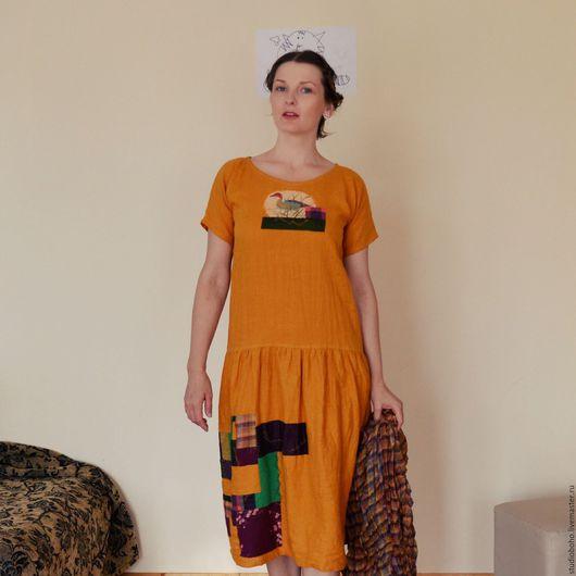 Платья ручной работы. Ярмарка Мастеров - ручная работа. Купить Льняное платье art 031 с элементами пэчворк и аппликацией. Handmade.