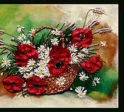 Картины и панно ручной работы. Ярмарка Мастеров - ручная работа Маки в корзинке. Handmade.