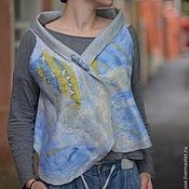 """Одежда ручной работы. Ярмарка Мастеров - ручная работа Жилет """"Небо"""" голубой и желтый, войлок, шелк. Handmade."""