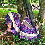 Одежда ручной работы. Ярмарка Мастеров - ручная работа Длинная юбка Бохо Пейсли на осень из шерсти  хлопка и льна. Handmade.