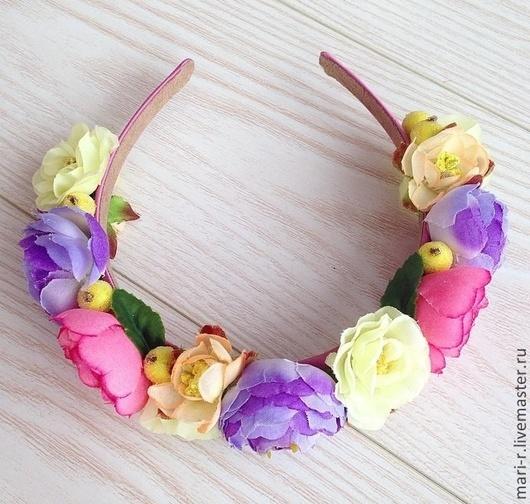 """Диадемы, обручи ручной работы. Ярмарка Мастеров - ручная работа. Купить Ободок с цветами """" Ягодки цветочки"""". Handmade. Ободок"""