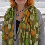 Аксессуары handmade. Livemaster - original item Green scarf Long felted beautiful stole dress Gift. Handmade.