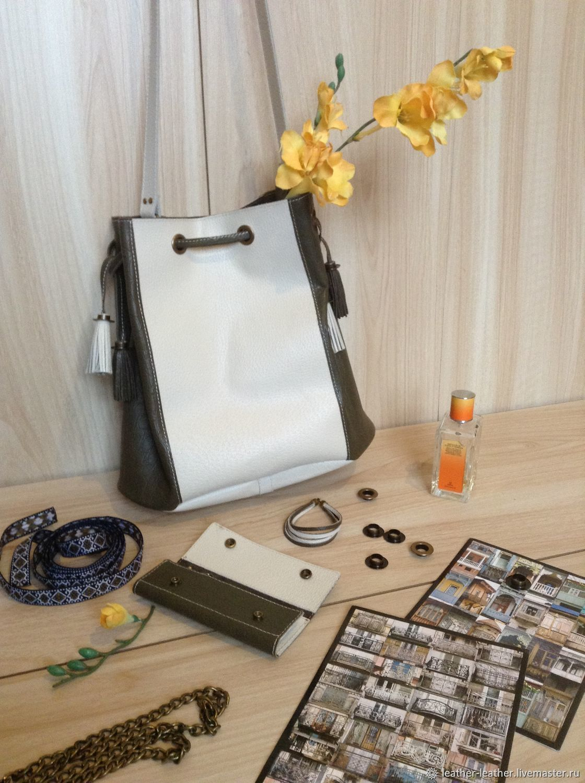 Handbags handmade. Livemaster - handmade. Buy Leather Khaki bucket bag, housekeeper, olive light, Seth.