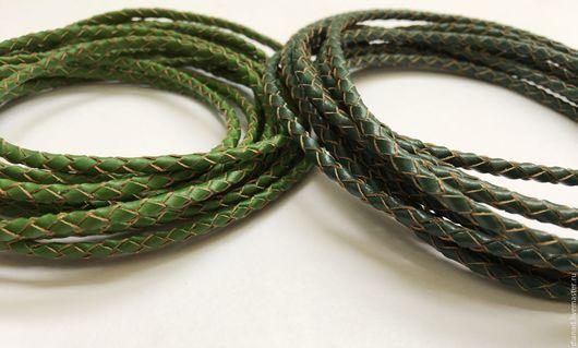Для украшений ручной работы. Ярмарка Мастеров - ручная работа. Купить Кожаный плетеный шнур, 3 мм, два цвета. Handmade.