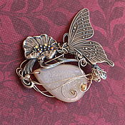 """Украшения ручной работы. Ярмарка Мастеров - ручная работа Брошь или кулон """"Нежность...""""  с бабочкой и друзой агата. Handmade."""