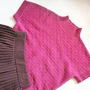 Одежда handmade. Livemaster - original item Female pink knitted vest Fuchsia. Handmade.