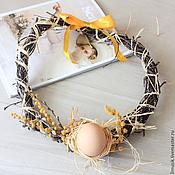 """Для дома и интерьера ручной работы. Ярмарка Мастеров - ручная работа Пасхальный эко-венок """"Мимоза"""". Handmade."""