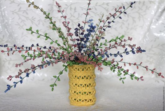 Искусственные растения ручной работы. Ярмарка Мастеров - ручная работа. Купить Вереск из бисера № 8. Handmade. Разноцветный, букет