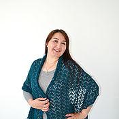 Аксессуары handmade. Livemaster - original item Stole Wool Knitted Openwork scarf Warm Dark Emerald green. Handmade.